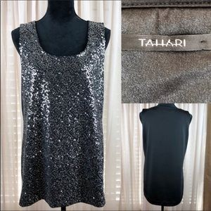 Tahari silver sequin tank top in black.